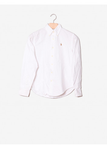 Camicia bianca Classic Fit con logo-Ralph Lauren-frontale.jpg