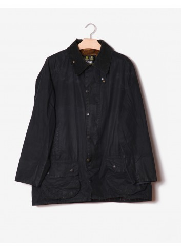 Barbour nero in cotone cerato-Barbour-frontale.jpg